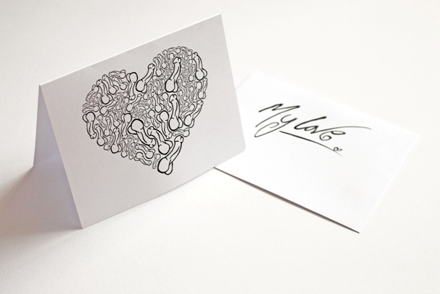 Printed Greeting Card --- I Love You From My Penis