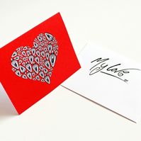 Printed Greeting Card --- I Love You From My Vagina --- Red