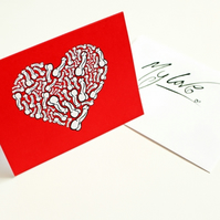 Printed Greeting Card --- I Love You From My Penis --- Red