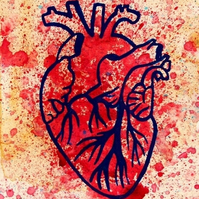 Blue Veined Heart --- Original Artwork