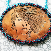 Bigger On The Inside Amanda Palmer Necklace --- Etched Copper & Glass Beads