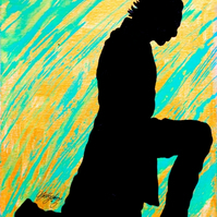 Kneeling Loki Silhouette --- Original Artwork