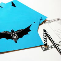 Printed Postcard --- Batman in blue!