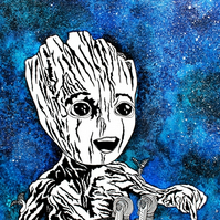 A5 Print --- Don't Push THIS Button --- Baby Groot
