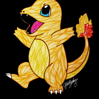 Inktober 2018 Roasted Charmander --- Original Artwork