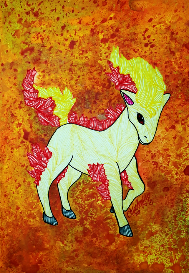 Inktober 2018 Scorched Ponyta --- Original Artwork