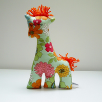 SALE Retro Giraffe Soft Toy in Green Flower Power Fabric, 70's Style Pop Floral