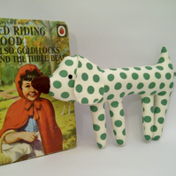 Twiggy Legged Green Spot Pocket Puppy Dog, Small Dog Toy, Spot Fabric Dog