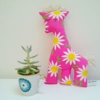 SALE Bright Pink Giraffe Soft Toy in 70's Vintage Fabric, Pop Pink Daisy Animal