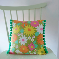 Vintage Flower Fabric Pom Pom Cushion, Small Retro Pillow in Green Flowers