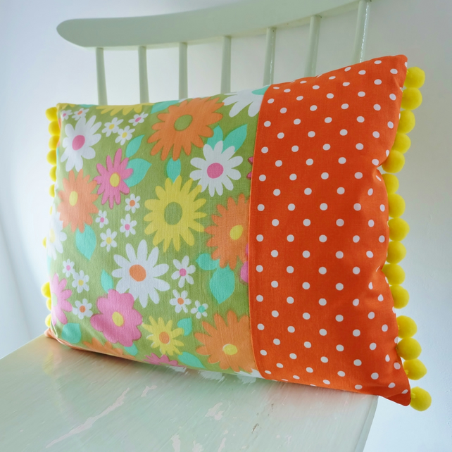 SALE Vintage Flower Fabric Pom Pom Cushion, Long Retro Pillow in Green Flowers