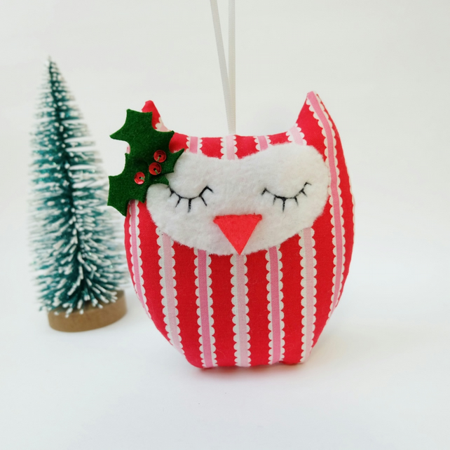 SALE Owl Christmas Lavender Sachet, Sweet Red Stripe Owl Decoration, Owl Sachet