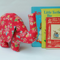 Red Flowery Elephant Soft Toy, Woodland Rose Red Fabric Elephant Plush