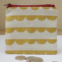 Gold Scallop Fabric Coin Purse, Small Fabric Pouch in Gold Printed Linen Cotton