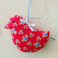 SALE Lavender Bird Sachet in Red Floral Fabric, Decorations, Scented Sachets