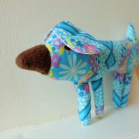 SALE Small Dog Soft Toy, Puppy Plush in Turquoise Blue Retro Flower Fabric