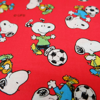 Snoopy Fabric, Red Football Snoopy, Peanuts Craft Fabric by Concord 115cm x 37cm