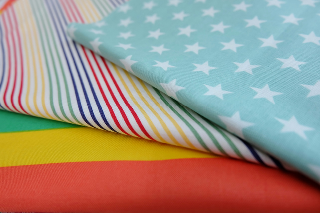 Patchwork Fabric Bundle, Stars, Stripes, Rainbow, Craft Cotton, Stash Builders