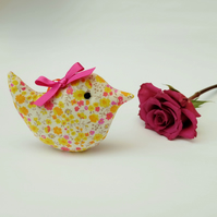 SALE Little Lavender Sachet Bird, Yellow Ditsy Floral Fabric Scented Birdy