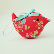 Lavender Sachet Bird in Red Floral Fabric Scented Bird, Scented Sachet, Ea Gift