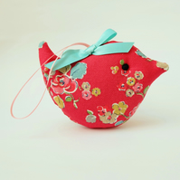 Lavender Sachet Bird in Red Floral Fabric, Scented Bird, Scented Sachet