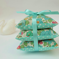 Liberty Betsy Turquoise Lavender Sachet Trio, Three Lavender Scented Pillows