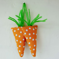 Easter Carrot Lavender Sachets, Pair of Fun Orange Spot Carrot Sachets
