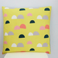 Lemon Yellow Abstract Cushion, Japanese Kokka Fabric Living Room Cushion