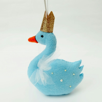 Felt Swan Hand Sewn Christmas Decoration, Light Blue with Rose Gold Crown, Swan