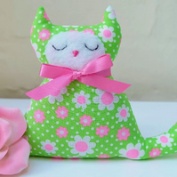 Cat Lavender Sachet in Bright Green and Neon Pink Daisy Retro Fabric