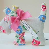 Lavender Sachet Dog, Classic Cream Floral Bloom Fabric Scented Sachet