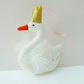 Felt Swan Hand Sewn Christmas Decoration in White, with Gold Crown