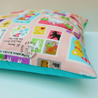 SALE Kawaii Stamps Pink Cushion, Japanese Fabric Children's Small Pillow