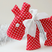 SALE Christmas Lavender Sachet Dog, Red and White Spot Fabric Scented Sachet
