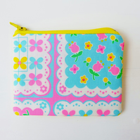 Pretty Floral Patch Fabric Small Coin Purse, in Neon Pink and Blue