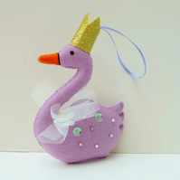 Felt Swan Hand Sewn Decoration in Purple with Gold Crown