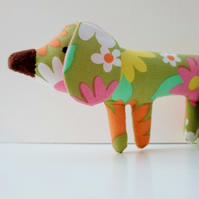 70's Green Retro Flower Puppy Dog, Sweet Seventies Style Dog Toy