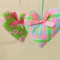 Two Pretty Neon Fabric Hearts, Daisy and Check
