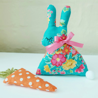Lavender Bunny with Lavender Carrot, Gypsy Turquoise Floral Easter Rabbit