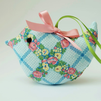 Lavender Sachet Bird, Blue Flower Trellis Fabric Bird Decoration