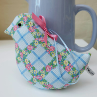 Retro Blue Flower Lavender Bird, Pretty Fabric Gift
