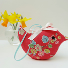 SPECIAL PRICE Lavender Sachet Bird, Red Floral Fabric Bird Decoration