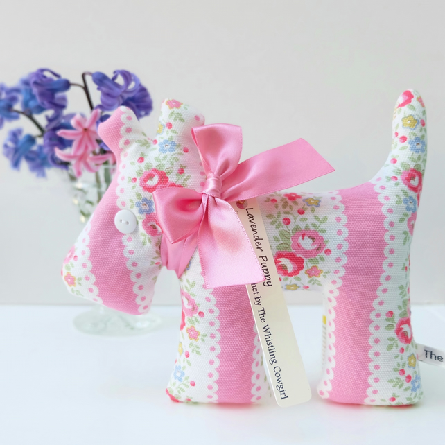 Lavender Sachet Puppy, Pink Rose Stripe Vintage Style Fabric