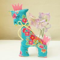 Turquoise Retro Flower Lavender Sachet Giraffe, Cute Animal Decoration