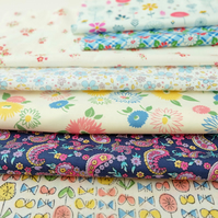 Pretty and Modern Floral Cotton Fabric Bundle, Scrap Pack, Sew, Quilt, Patchwork