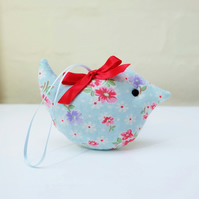 Mini Lavender Sachet Bird, Blue Retro Style Floral Fabric