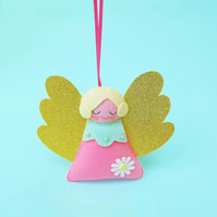 Retro Pink Angel Felt Christmas Decoration, Hand Sewn Decor