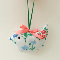 Mini Lavender Sachet Bird, Organic Grey Wildflower Floral Fabric