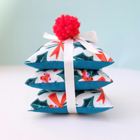 SALE Retro Holly and Bows Christmas Lavender Sachets Set of Three