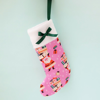 SALE Small Christmas Stocking, Pink Retro Santa Fabric